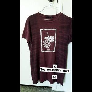 Maroon Tye-Dye OBEY T-Shirt